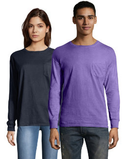 Hanes Men's ComfortWash™ Garment Dyed Long Sleeve Pocket Tee men Comfortwash
