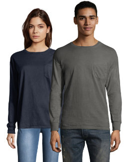 Hanes Men's ComfortWash Garment Dyed Long Sleeve Pocket Tee men Hanes