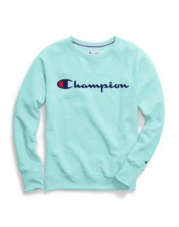 Champion Women's Powerblend® Fleece Boyfriend Crew, Script Logo women Champion