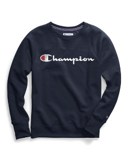 Champion Women's Plus Powerblend® Fleece Boyfriend Crew, Script Logo women Champion