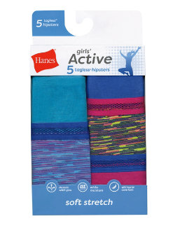Hanes Girls Active Stretch Hipster 5-Pack youth Hanes