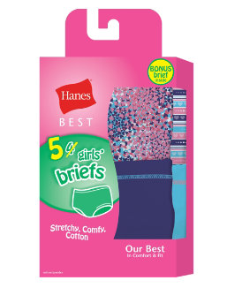 Hanes Best Girls' Soft and Cool Briefs 5-Pack (4  1 Free Bonus Pack) youth Hanes