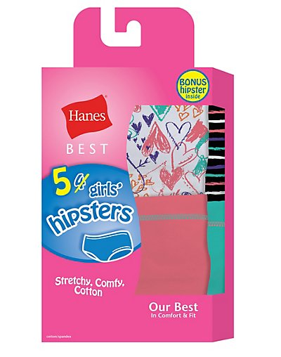 Hanes Best Girls' Cotton Stretch Hipsters 5-Pack (4 + 1 Free Bonus Pack) - GHBHP5