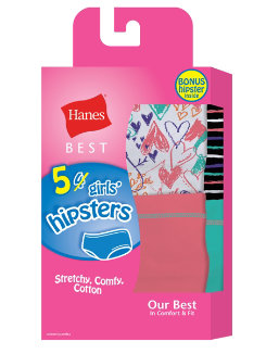 Hanes Best Girls' Cotton Stretch Hipsters 5-Pack (4  1 Free Bonus Pack) youth Hanes