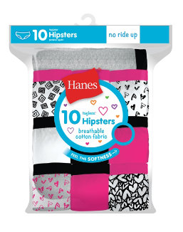 Hanes Girls' Cotton Hipsters 10-Pack youth Hanes
