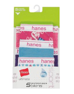 Hanes Ultimate® Girls' Sport Microfiber Bikinis 5-Pack youth Hanes