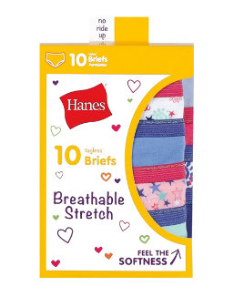 Hanes Girls' Breathable Stretch Briefs 10-Pack youth Hanes