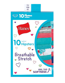 Hanes Girls' Breathable Stretch Hipsters 10-Pack youth Hanes