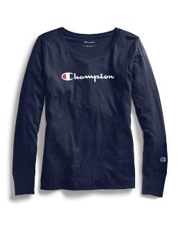 Champion Women Classic Long-Sleeve Tee, Script Logo women Champion