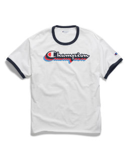 Champion Men's Classic Jersey Ringer Tee, Multi-Color Shadow Logo men Champion