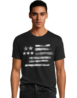 Men's Black & White Flag Graphic Tee men Hanes