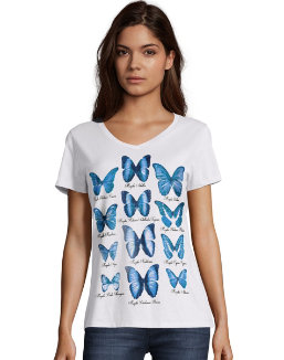 Hanes Women's Butterfly Collection Short-Sleeve V-Neck Graphic Tee women Hanes