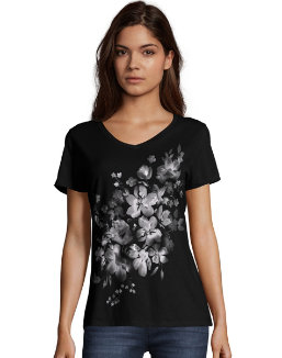 Hanes Women's Bleach Floral Cascade Short-Sleeve V-Neck Graphic Tee women Hanes