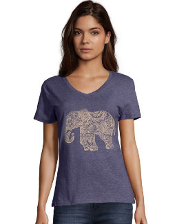 Hanes Women's Pattern Elephant Short Sleeve V-Neck Tee women Hanes