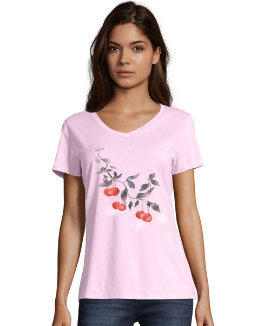 Hanes Women's Cherries Jubilee Short Sleeve V-Neck Tee women Hanes