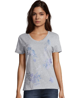 Hanes Women's Floral Message Short-Sleeve V-Neck Graphic Tee women Hanes