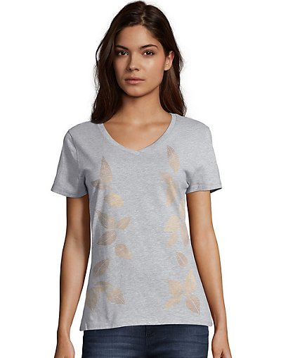 Hanes Women's Metallic Foliage Toss Short-Sleeve V-Neck Graphic Tee GT9337_Y07646