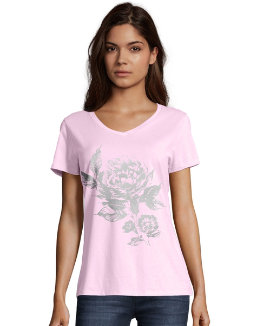 Hanes Women's Floral Semplice Short-Sleeve V-Neck Graphic Tee women Hanes