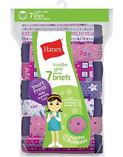 Hanes Tagless® Toddler Girls Days of the Week Pre-Shrunk Cotton Briefs 7-Pack GTHMT7