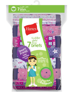 Hanes Tagless® Toddler Girls Days of the Week Pre-Shrunk Cotton Briefs 7-Pack youth Hanes