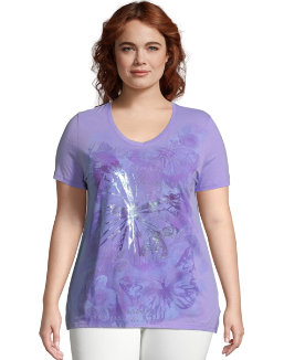 JMS Big Butterfly Impression Short Sleeve Graphic Tee women Just My Size