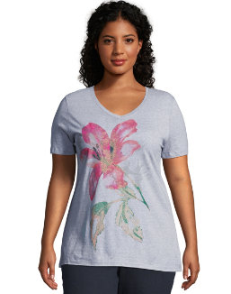 JMS Tropical Flower Short Sleeve Graphic Tee women Just My Size