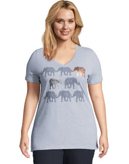JMS Stylized Elephants Short Sleeve Graphic Tee women Just My Size