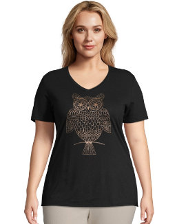 JMS Whoot Whot Short Sleeve Graphic Tee women Just My Size