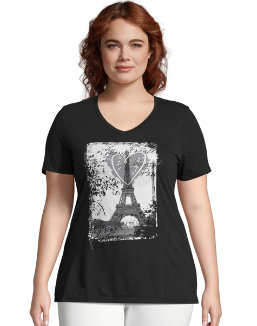 9db6690bfc2bff JMS L Amour Paris Short Sleeve Graphic Tee women Just My Size