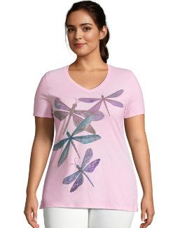 JMS Dragonfly Ascending Short Sleeve Graphic Tee women Just My Size