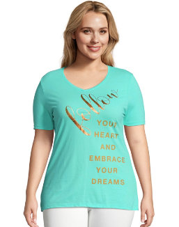JMS Follow Heart   Dreams Short Sleeve Graphic Tee women Just My Size 7dcaef55b3