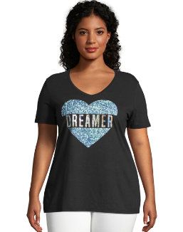 JMS Dreaming Heart Short Sleeve Graphic Tee women Just My Size