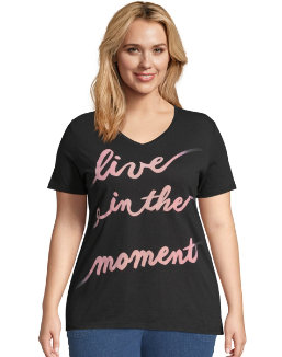 JMS Live In The Moment Short Sleeve Graphic Tee women Just My Size