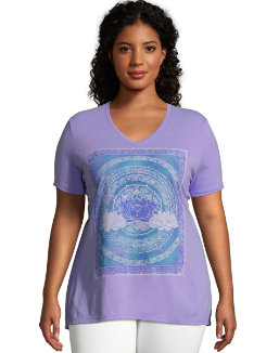 JMS Lotus Love Short Sleeve Graphic Tee women Just My Size