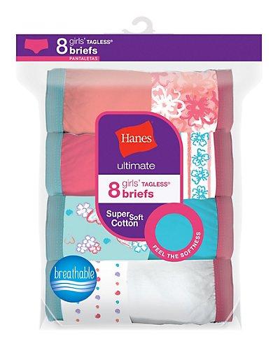 Hanes Ultimate® Girls' Cotton Briefs 8-Pack - GUBRP8