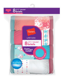 Hanes Ultimate® Girls' Cotton Briefs 8-Pack youth Hanes