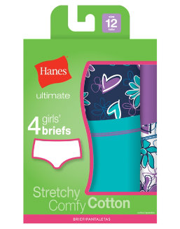 Hanes Ultimate TAGLESS® Cotton Stretch Girls' Briefs 4-Pack youth Hanes