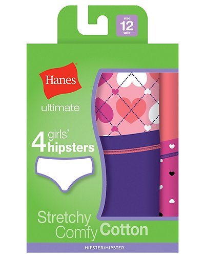 Hanes Ultimate TAGLESS® Cotton Stretch Girls' Hipsters 4-Pack GUCHP4