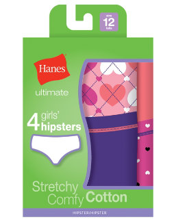 Hanes Ultimate™ TAGLESS® Cotton Stretch Girls' Hipsters 4-Pack youth Hanes