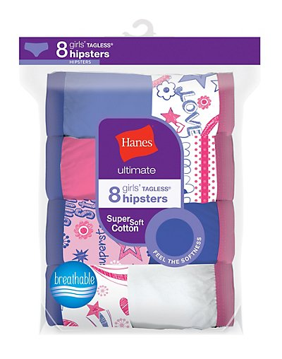 Hanes Ultimate® Girls' Cotton Hipsters 8-Pack - GUCHP8