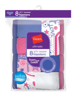 Hanes Ultimate® Girls' Cotton Hipsters 8-Pack youth Hanes
