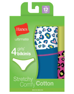 Hanes Ultimate TAGLESS® Cotton Stretch Girls' Bikinis 4-Pack youth Hanes