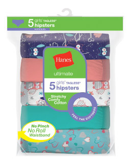 Hanes Ultimate® Girls' Cotton Stretch Hipsters 5-Pack youth Hanes