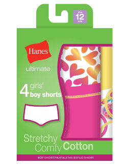 Hanes Ultimate™ TAGLESS® Cotton Stretch Girls' Boy Shorts 4-Pack youth Hanes