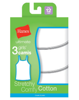 Hanes Ultimate TAGLESS® Cotton Stretch Girls' Cami White 3-Pack youth Hanes