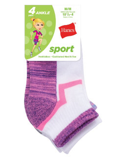 Hanes Girls' Sport Ankle 4-Pack youth Hanes