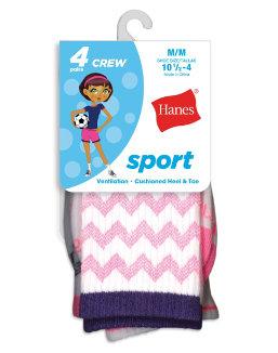 Hanes Girls' Sport Crew Socks 4-Pack youth Hanes