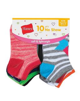 Hanes Girls' Fashion No Show Socks 10-Pack youth Hanes