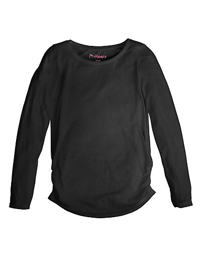 Hanes K359 Girl's Shirred Sideseam LS Tee