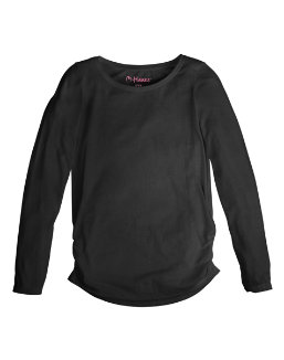 Girl's Shirred Sideseam LS Tee youth Hanes
